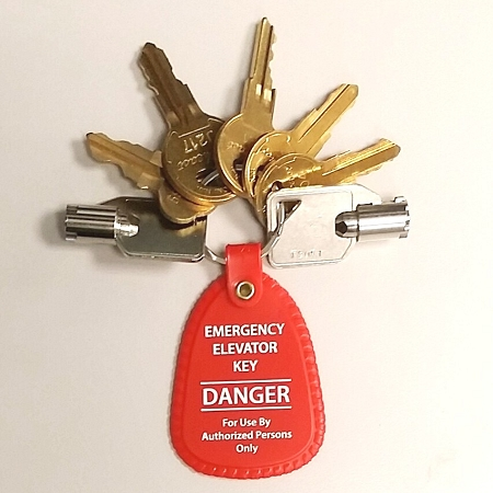 Set Of Seven 7 Elevator Fire Service Keys With Red Tag