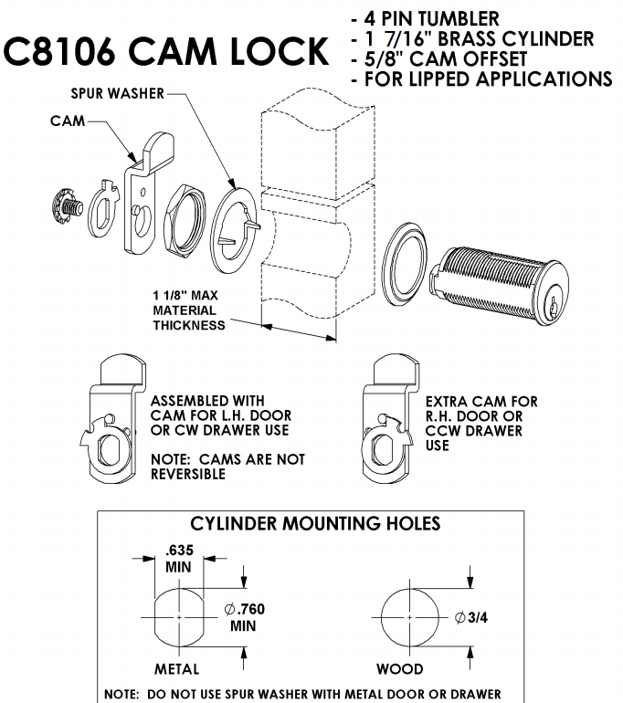 compx national c8106 pin tumbler cam lock keyed different. Black Bedroom Furniture Sets. Home Design Ideas