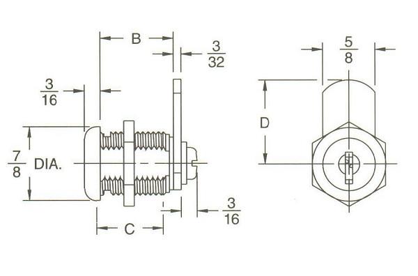 Inch body length disc tumbler cam lock with keys