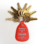OTIS Elevator Keys Set, UTA to UTH (8) Keys with Red Tag Fob for Emergency Personnel
