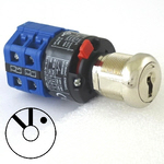 3 position Elevator blue switch style key switch cam lock,  fire service PHASE 2 with 2 keys