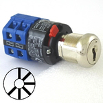 Six position six key-pull elevator emergency power quick connect blue key switch lock with two AZFS, L205, UTF or WD01 keys