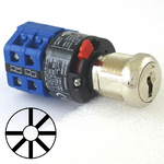 Seven position seven key-pull elevator emergency power quick connect blue key switch lock with two AZFS, L205, UTF or WD01 keys