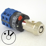 3 position elevator fire service PHASE 1 quick connect key switch with blue rotary switch and 2 BFD1 / FEOK1 keys