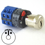 Double spring back key switch with multi-pole blue switch and 2 keys