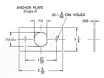 Rectangle mounting plate (aka. anchor plate) for single D cutout .75