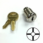 Four position four key-pull cross slotted lock for rotary switches (switch not included)
