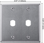 Double gang faceplate outlet box cover with double D cutout for locks, 0.640