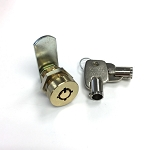 Cam Lock 2 Position 2 Keypull with 2 Tubular Keys - Flush Mount Elevator Cabinet and Key Box Lock