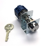 three position double momentary (double spring back) medeco key switch lock with blue cam switch