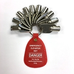 Set of Ten (10) Kone Elevator Keys - KONE key set with Red Tag