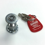Tri-Lok plug lock for elevator hoistway door safety with key and fob