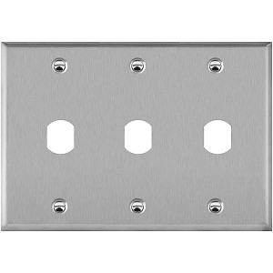"3 gang faceplate outlet box cover with 3 double D cutouts for 0.75"" dia. locks with 0.64"" Flat to Flat width"