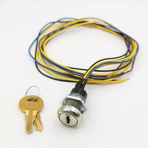 Single Pole Selector Switch or Phase 2 Key Switch Lock, 3 Position 2 Key-pull with 2 Keys and Wire Leads