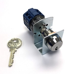 Medeco 61 Series Phase-1 Switchlock with 90 Degree Indexing, Blue Switch with 3 Pairs of Normally Closed Contacts and Bracket