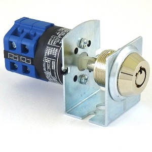 Elevator Fire Service PHASE-2 Key Switch Lock with Bracket and 2 Tubular Keys, 3 position 2 key-pull
