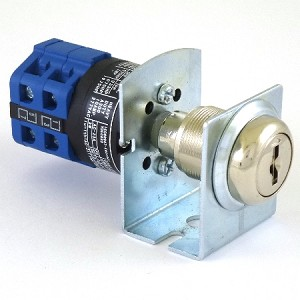 Three position two key-pull fire service PHASE I blue key switch lock with bracket and 2 keys